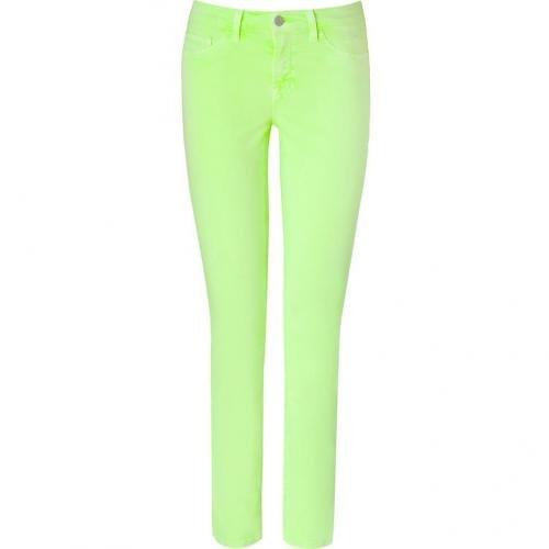 J Brand Jeans Neon Yellow Mid-Rise Skinny Pants