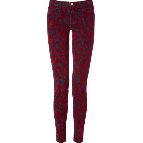 J Brand Jeans Red Brocade Flocking Jeans