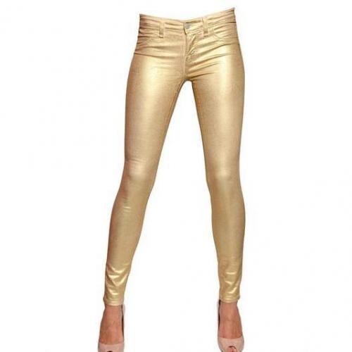 J Brand - Metallic Ummantelte Stretch Denim Jeans