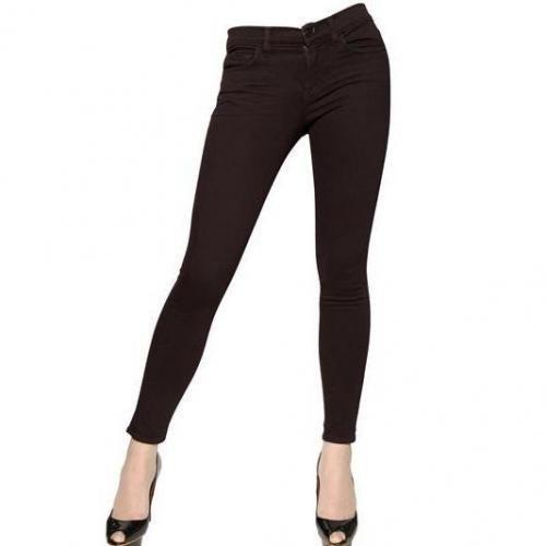 J Brand - Stretch Denim Skinny Mid Rise Jeans Dark Red