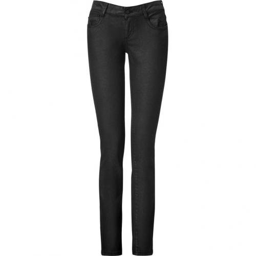 McQ Alexander McQueen Black Laquered and Embroidered Pants