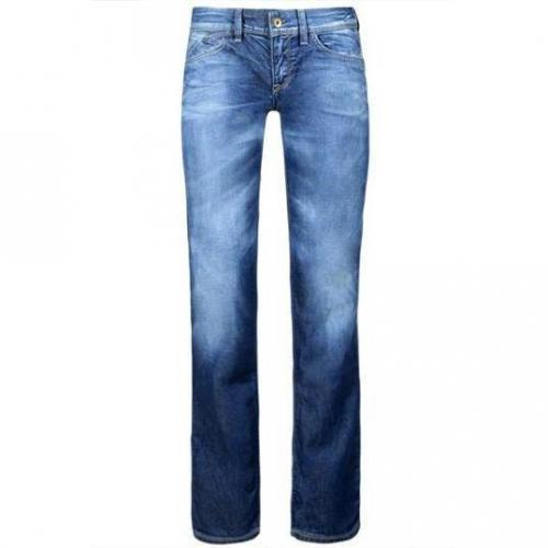 Meltin Pot - Hüftjeans Modell Manon Stretch Blue Denim Used & Whisker Farbe Blaue Wasch