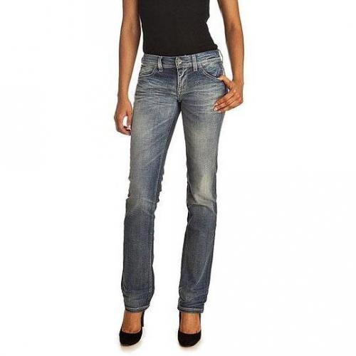 Meltin Pot - Hüftjeans Modell Manon Stretch Denim Used & Whiskers Farbe Blaue Waschung