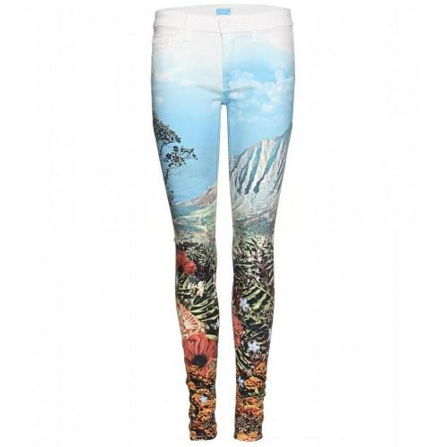 Mother The Looker Mid-Rise Skinny Jeans Mit Digitalprint