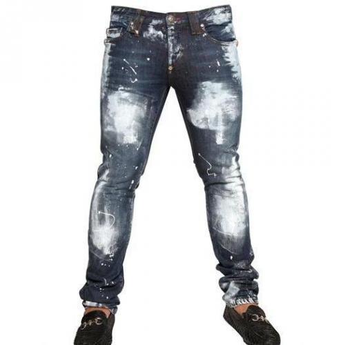 philipp plein 18cm distressed painted denim jeans. Black Bedroom Furniture Sets. Home Design Ideas