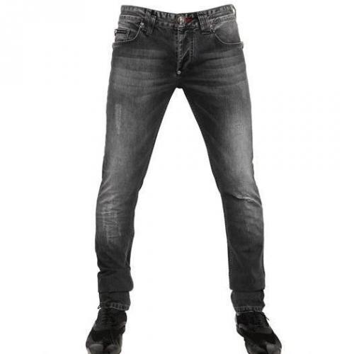Philipp Plein - 18Cm Distressed Washed Denim Jeans Schwarz Used Vintage