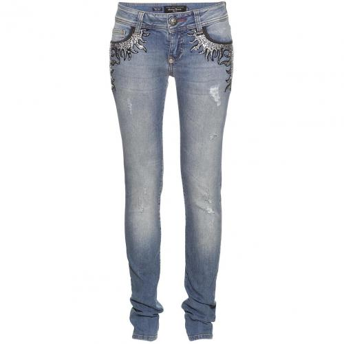 Philipp Plein Couture Slim Fit Crystal Flames Malibu Blue