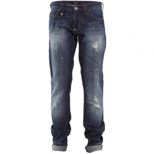 Philipp Plein Jeans Fight Blue Used Look