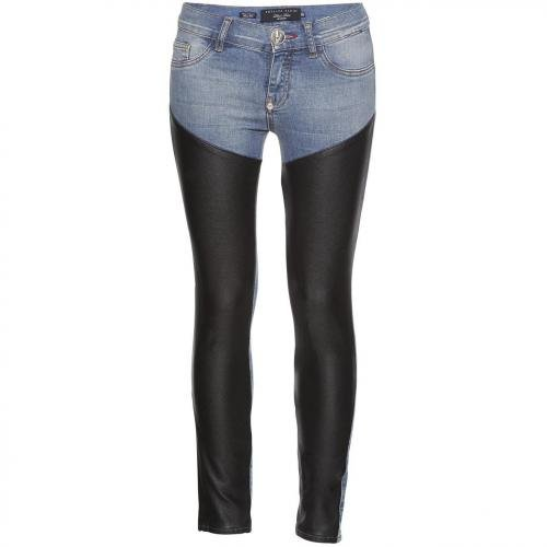 Philipp Plein Jeggings Rider Denim Leather Jeans
