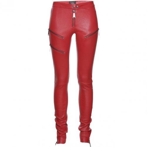 Philipp Plein Leather Legging Rider Red