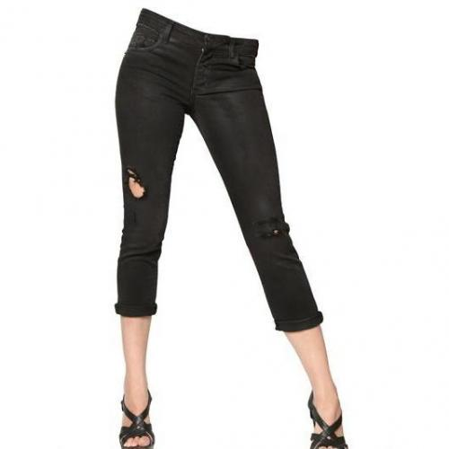 Pierre Balmain - Destroyed Denim Stretch Cropped Jeans