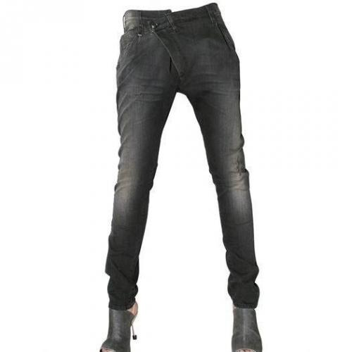 R 13 - Denim Stretch Cross Over Jeans