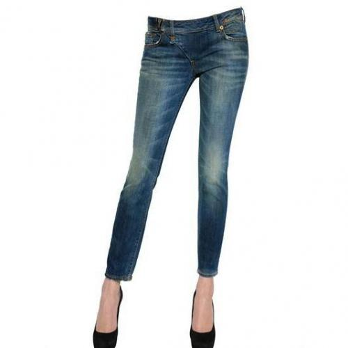 R 13 - Fold Over Denim Stretch Jeans