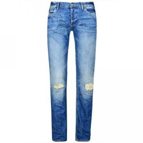SuperDry - Hüftjeans Officer Denim Slim Dragster Blue Blaue Waschung