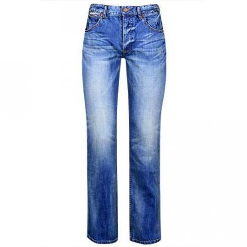 SuperDry - Hüftjeans The Standard Blue-Jean Sunburned Blue Blaue Waschun