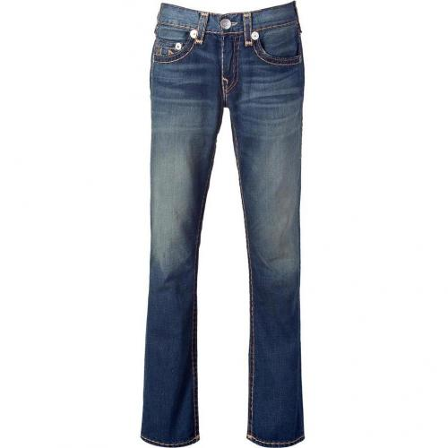True Religion Blue Washed Bobby Super T Straight Leg Jeans