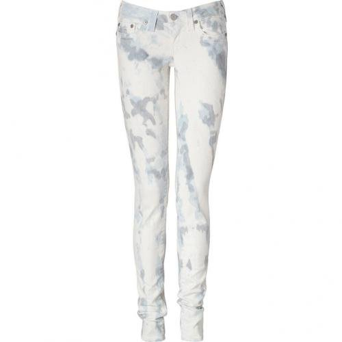True Religion Grey Bleached Low-Rise Skinny Stella Jeans
