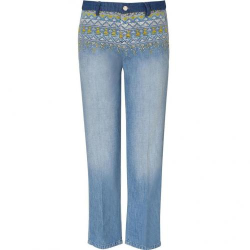 Vanessa Bruno Athé Blue Embroidered Boy Friend Jeans
