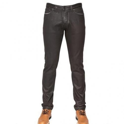 Viktor&Rolf - 18Cm Leder Effekt Denim Slim Fit Jeans