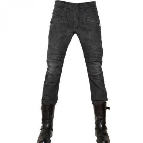 Balmain - 18Cm Gesteppte Heavy Denim Biker Jeans