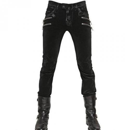 Balmain - 18Cm Gewachste Samt Biker Jeans