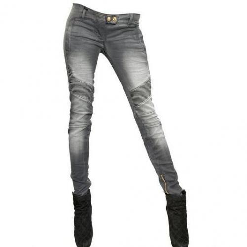 Balmain - Biker Stretch Baumwoll Denim Jeans Grey