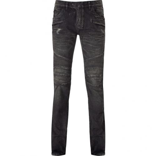 Balmain Grey Destroyed Denim Pants