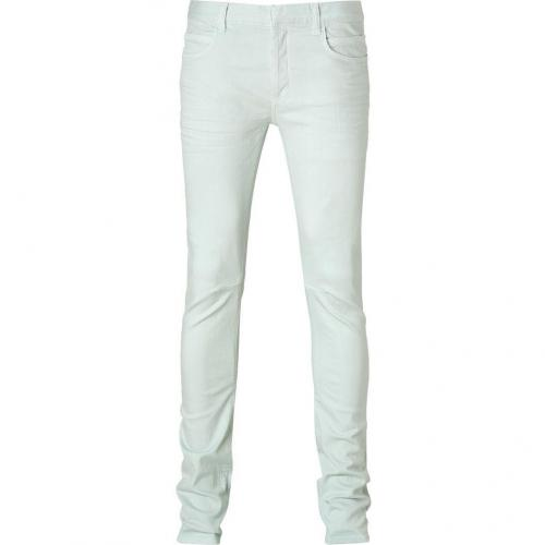 Balmain Pale Mint Knee Stitch Stretch Jeans
