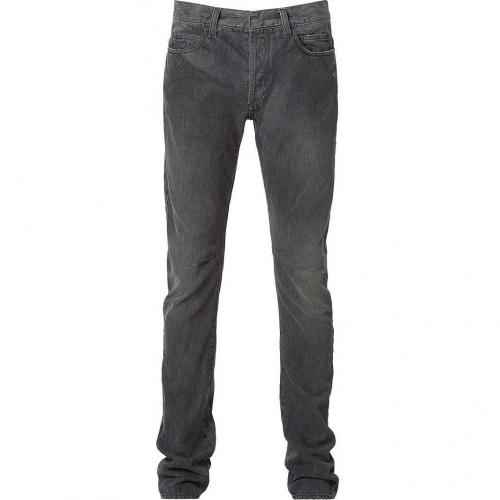 Balmain Washed Black Slim Knee Stitch Jeans