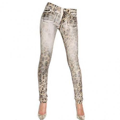Blumarine - Handgewachste Stretch Baumwoll Denim Jeans Leo Look