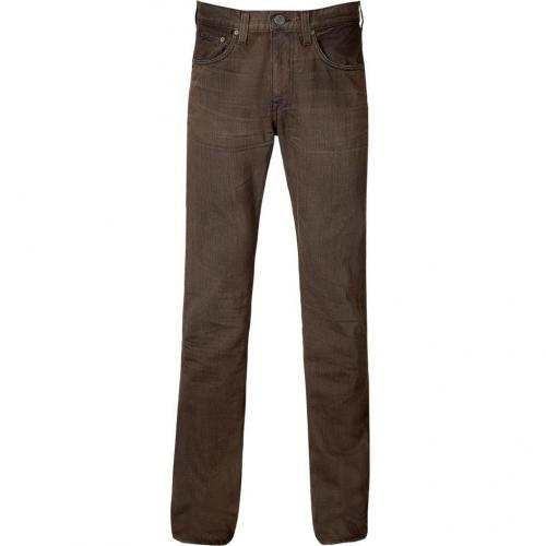 Current Elliott Antique Brown Slim Straight Leg Jeans