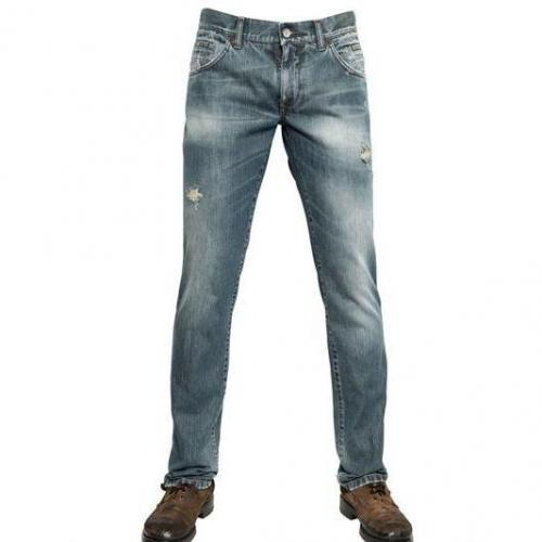 Dolce & Gabbana - 19Cm Destroyed Denim 14 Gold Jeans