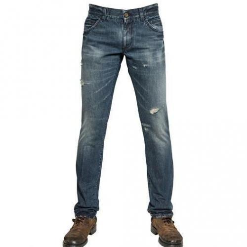 Dolce & Gabbana - 19Cm Destroyed Denim 14 Gold Jeans Blue Washed