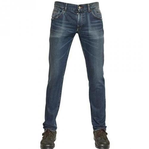 Dolce & Gabbana - 19Cm Washed Denim 14 Gold Jeans Blue Used Look