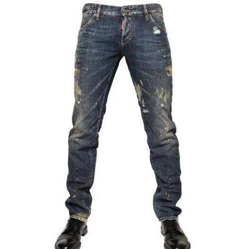 Dsquared - 19Cm Bemalte Denim Slim Fit Jeans