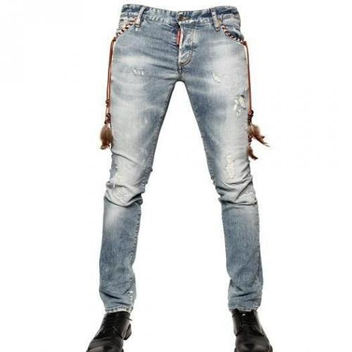 Dsquared - 19Cm Destroyed Denim Slim Fit Jeans Federdetails