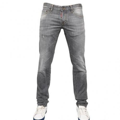 Dsquared - 19Cm Grey Wash Slim Stretch Denim Jeans