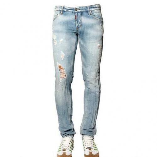 Dsquared - 19Cm Leinen Blend Denim Slim Fit Jeans