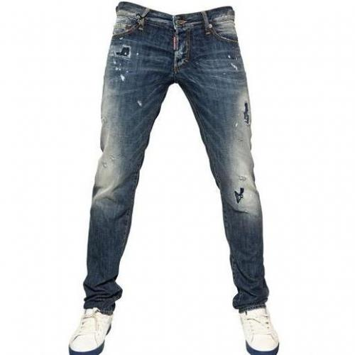 Dsquared - 19Cm Patch Of Blue Slim Denim Jeans