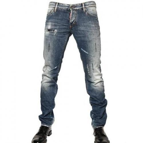 Dsquared - 19Cm Washed Denim Slim Fit Jeans Vintage Used Look