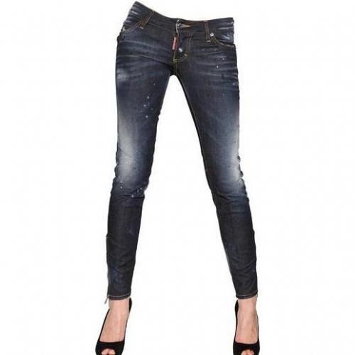 Dsquared - Super Slim Washed Stretch Denim Jeans Blue