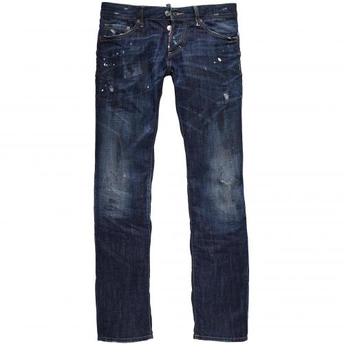 dsquared2 herren jeans slim jean darkblue painted. Black Bedroom Furniture Sets. Home Design Ideas