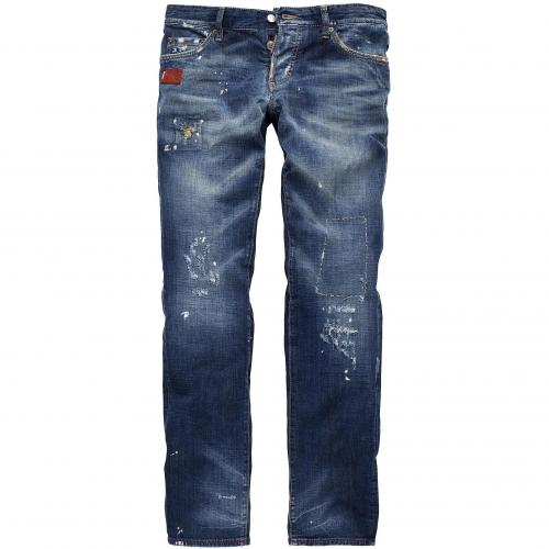 dsquared2 herren jeans slim jean mid blue painted. Black Bedroom Furniture Sets. Home Design Ideas