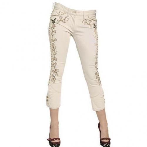 Isabel Marant - Bestickte Stretch Baumwoll Denim Jeans Beige Gold