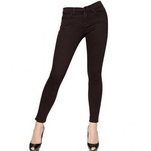 J Brand - Stretch Denim Skinny Mid Rise Jeans Dark Red