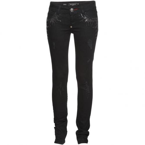 Philipp Plein Couture Slim Fit Crystal Flames Black Caviar