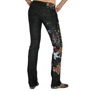 Philipp Plein Damen Jeans Lovely Birds Schwarz Denim