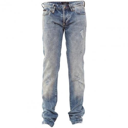 Philipp Plein Jeans Fight Light Blue Used Look