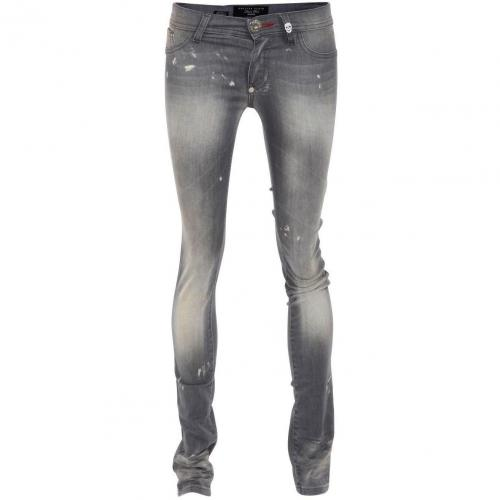 Philipp Plein Jeggings Devils Food Rock Diamond