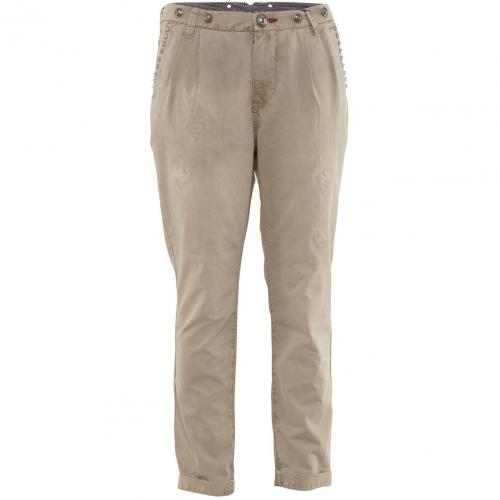 Philipp Plein Trouser Captain Jane Military Beige Studs